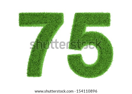 Number 75 with a green grass texture and a three dimensional effect conceptual of an eco-friendly font and conserving nature, isolated on white
