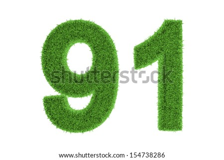 Number 91 with a green grass texture and a three dimensional effect conceptual of an eco-friendly font and conserving nature, isolated on white