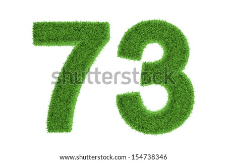 Number 73 with a green grass texture and a three dimensional effect conceptual of an eco-friendly font and conserving nature, isolated on white