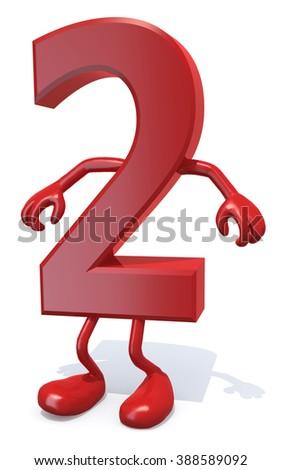 number 2 with arms and legs posing, isolated on white 3d illustration - stock photo