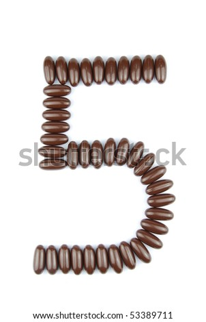 number 5 with chocolate candies (isolated on white background) - stock photo