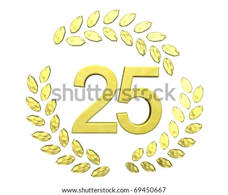 number 25 with laurel wreath - stock photo