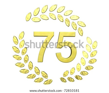 number 75 with laurel wreath - stock photo