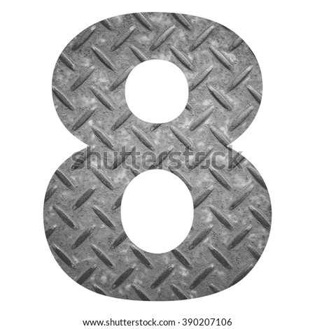 Number 8 with metal photo background isolated on white background - stock photo