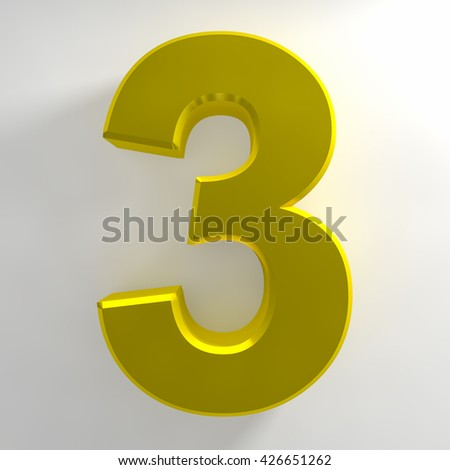 Number 3 yellow color collection on white background illustration 3D rendering - stock photo