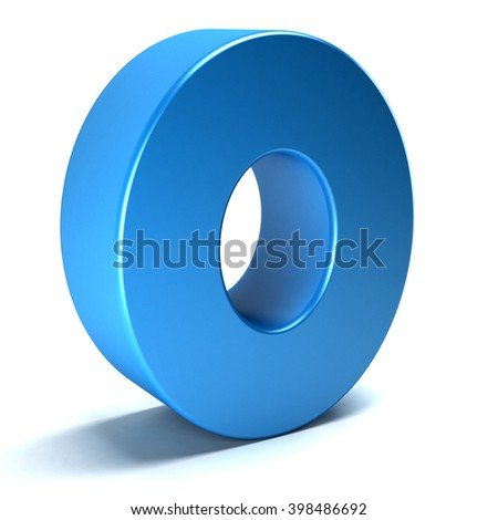 Number Zero 0 color blue icon. 3D rendering illustration