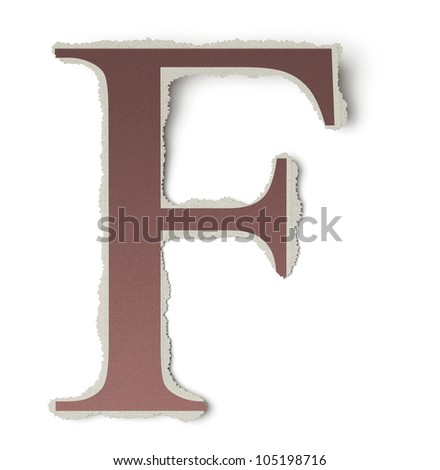 Numbers and letters collection, vintage alphabet based on newspaper cutouts. Letter F on torn paper, 3d render - stock photo