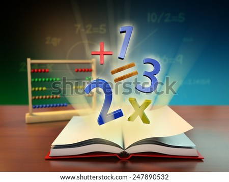Numbers and mathematical operators coming out of an open book. Digital illustration.