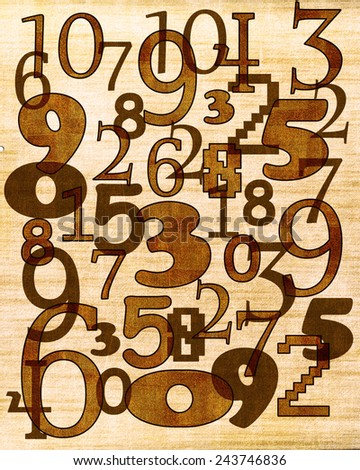 Numbers composition on the old background - stock photo
