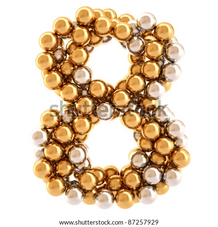 numbers from golden and silver balls. isolated on white. - stock photo