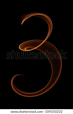 Numbers in flames 3 - stock photo