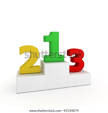 numbers 1, 2, 3 in green, yellow and red on a white victory podium