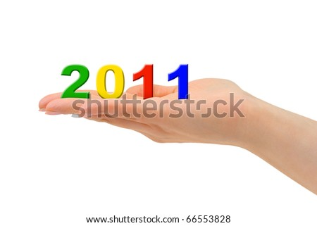 Numbers 2011 in hand isolated on white background - stock photo