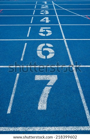 numbers in the track - stock photo