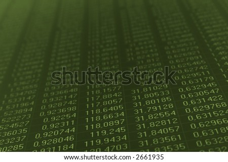 Numbers on a computer monitor painted in dark green color