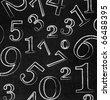 Numbers on blackboard - stock photo