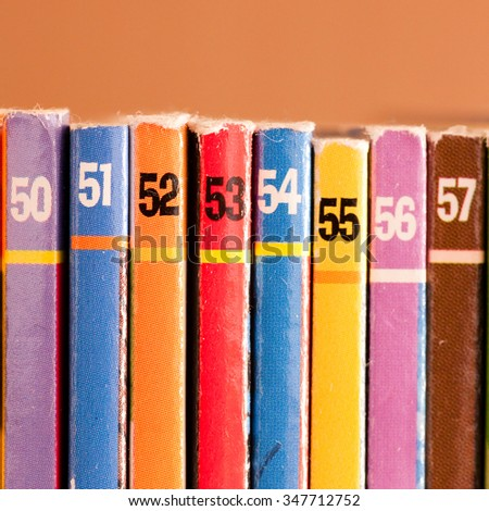 Numbers on colored background, part of a comics collection
