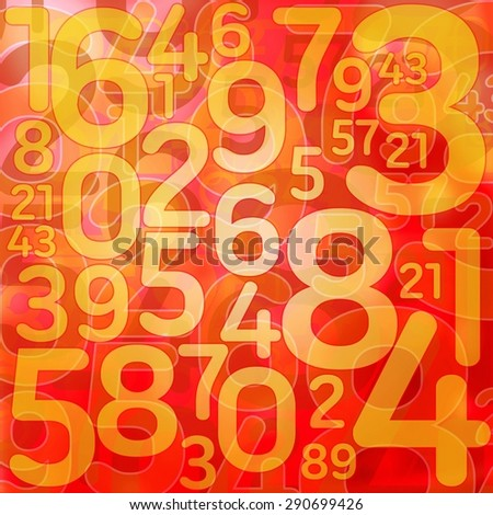 Numbers on red texture background - stock photo