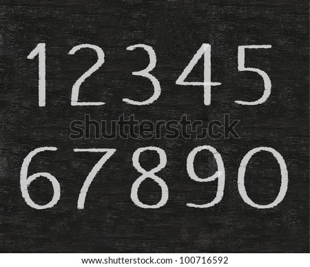 numbers one to ten written on blackboard background high resolution, easy to use - stock photo