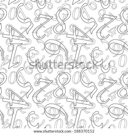 Numbers. Seamless wallpaper with digit symbols on grey - stock photo