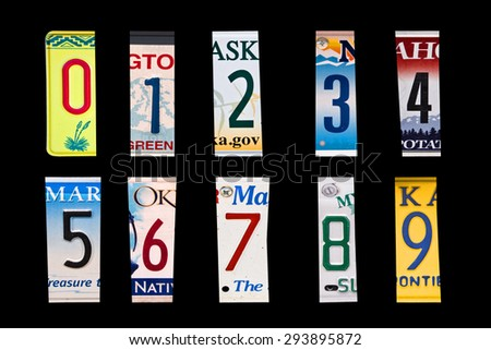 Numbers set created with broken pieces of vintage car license plates - stock photo