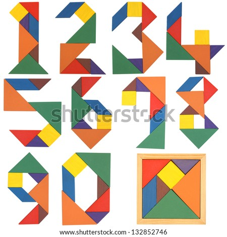 Numbers set, tangram. Isolated on a white background. - stock photo