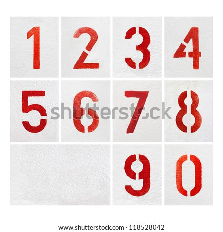 Numbers 0 to 9 Painted Stencils on gray Surface - stock photo