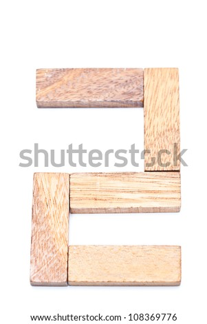 Numbers 2 with wooden floors and white. - stock photo