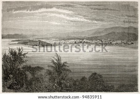 Numea old view, New Caledonia. Created by Moynet after photo of unknown author, published on Le Tour du Monde, Paris, 1867 - stock photo