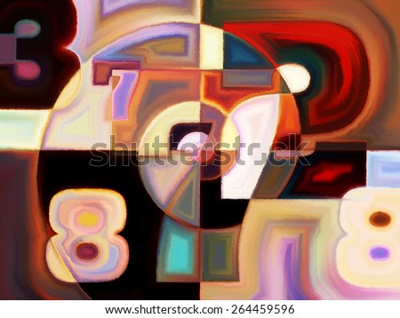Numeric Color series. Background design of numbers, colors and shape on the subject of math, science, education and art - stock photo