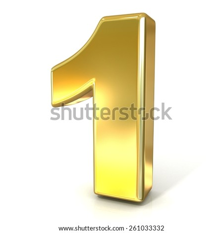 Numerical digits collection, 1 - ONE. 3D golden sign isolated on white background. Render illustration. - stock photo