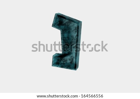 Nun - hebrew character in aqua