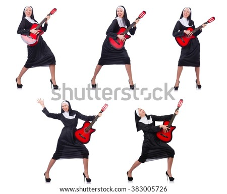 Nun with guitar isolated on white - stock photo