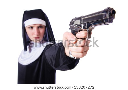 Nun with handgun isolated on white - stock photo