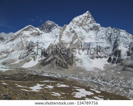 Nuptse and peak of Mt Everest