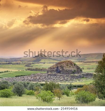 Nuraghi ruins - Su Nuraxi di Barumini, Bronze Age, Sardinia, Italy, UNESCO World Heritage Site - stock photo