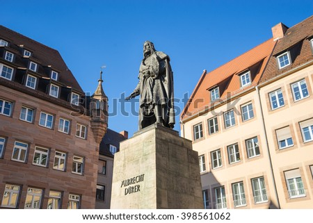 NUREMBERG - DECEMBER 8, 2016: Albrecht Durer Monument in Nuremberg, Germany. - stock photo