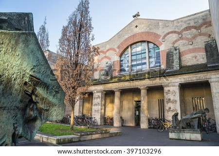 NUREMBERG - DECEMBER 8, 2016: The entrance of the German National Museum in Nuremberg (Germanisches Nationalmuseum). - stock photo