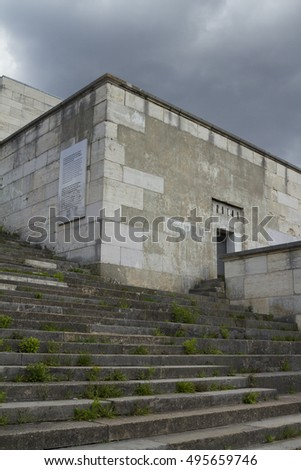 Nuremberg, Germany - Aug 22, 2016:  Ruins of the Zeppelin Field, where from 1933 former Nazi National Socialists used the area for their Party Rallies in Nuremberg.