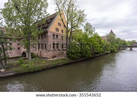 Nuremberg, Germany - May 06, 2015: Street view of Nuremberg, the second-largest city in Bavaria, Germany.