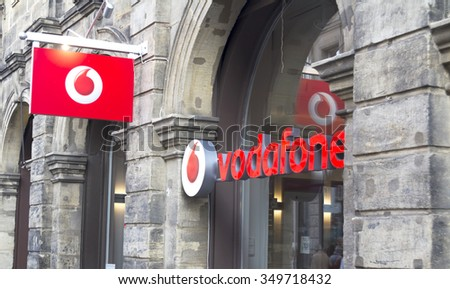 NURNBERG, GERMANY - OCT 3, 2015: Logo of Vodafone - Vodafone is a British multinational telecommunications company and It is the one of the world's largest mobile telecommunications company. - stock photo