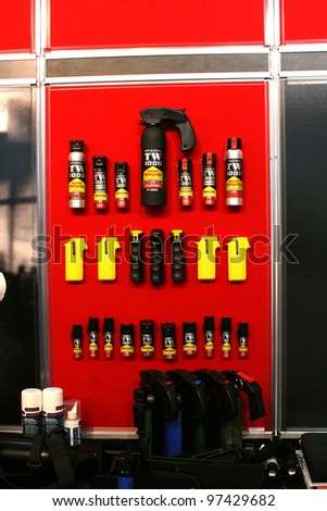 NURNBERG - MARCH 11: TW 1000 pepper spray on display at IWA 2012 & OutdoorClassics exhibition on March 11, 2012 in Nurnberg, Germany - stock photo