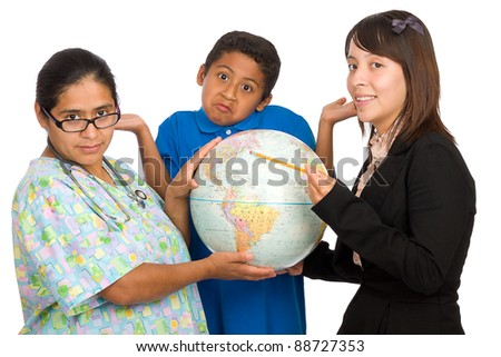 Nurse and teacher pointing to world accompanied by boy isolated over White background