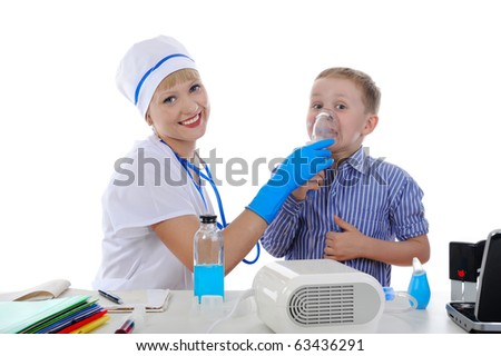 nurse and the little patient. Isolated on white background - stock photo