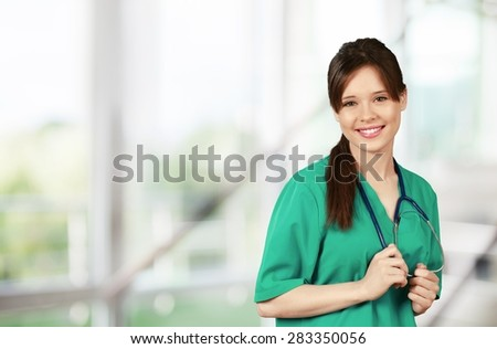 Nurse, Doctor, Isolated. - stock photo