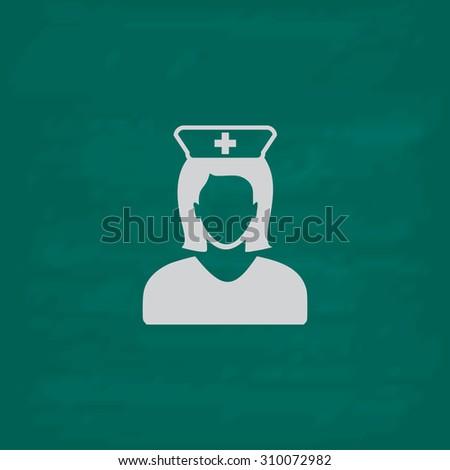 Nurse.  Icon. Imitation draw with white chalk on green chalkboard. Flat Pictogram and School board background. Illustration symbol - stock photo