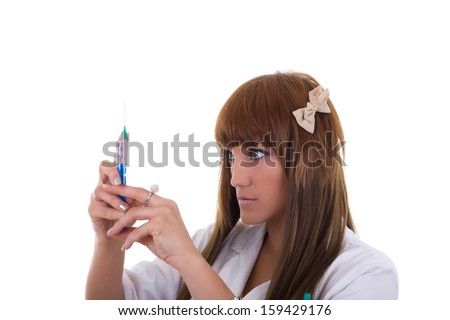 nurse is prepared for surgery while she holding syringe and needle