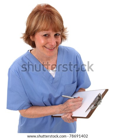 Nurse Looking Up With Clipboard In Hand - stock photo