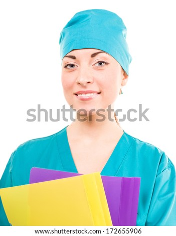 Nurse. medical student in her mid 20s. doctor. white background
