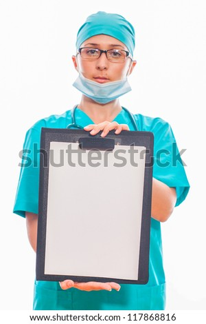 Nurse or doctor holding white board over white background.
